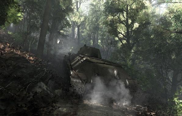 Picture forest, smoke, art, tank, T-34-76, Soviet Tank, War thunder, hibikirus