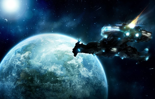Picture space, earth, planet, stars, comet, art, spaceship, SC2, Unaware, markpaulk