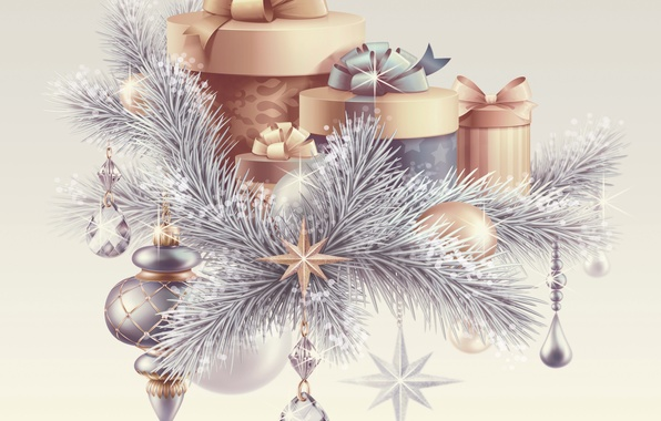 Picture balls, branches, photo, Christmas, gifts, New year, holidays