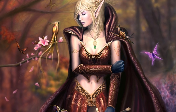 Picture forest, girl, decoration, trees, flowers, bird, sword, fantasy, art, elf, cloak