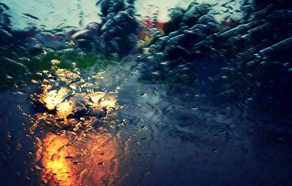 Picture road, car, machine, glass, water, drops, macro, light, city, the city, background, rain, widescreen, Wallpaper, …