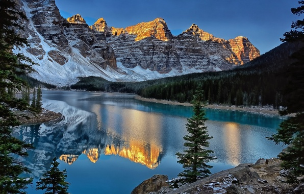 Picture mountains, reflection, Canada, Banff National Park, Canada, Moraine Lake, Valley of the Ten Peaks, Moraine …