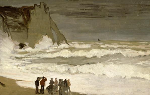 Picture storm, people, shore, picture, seascape, Claude Monet, Stormy Sea in étretat