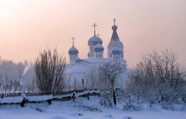Picture winter, snow, Church