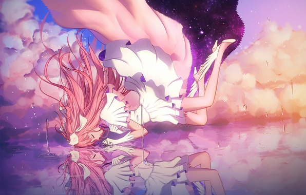 Picture the sky, water, girl, stars, clouds, reflection, anime, art, mahou shoujo madoka magica, madoka kaname, …