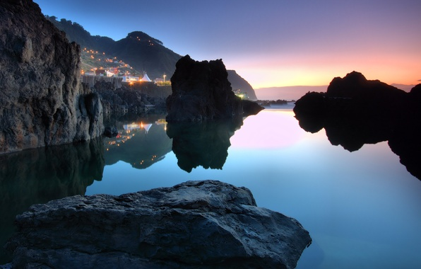 Picture the sky, water, sunset, stones, the ocean, Portugal, town, Porto Moniz