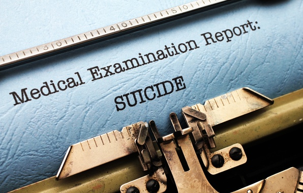 Picture suicide, typewriter, reporting, report
