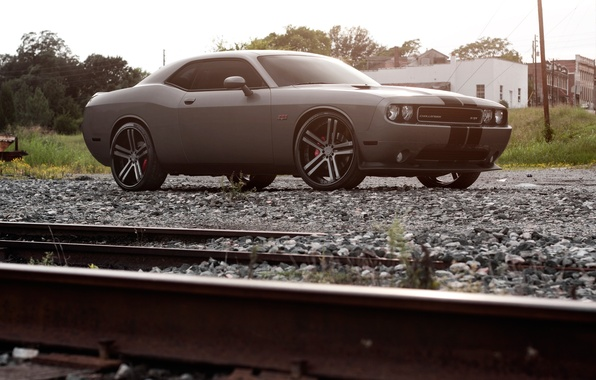 Picture Auto, Tuning, Machine, Dodge, Challenger, Rails, Crushed stone