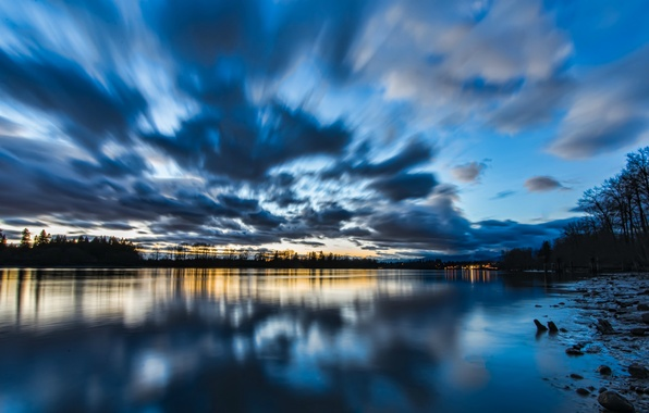 Picture the sky, water, clouds, trees, sunset, lake, surface, reflection, blue, shore, the evening, Canada, British …