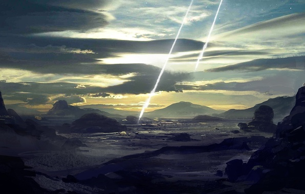 Picture clouds, rays, rocks, home, art, blow, meteorite, buildings