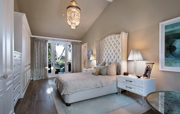Picture photo, Design, Lamp, Bed, Chandelier, Interior, Bedroom