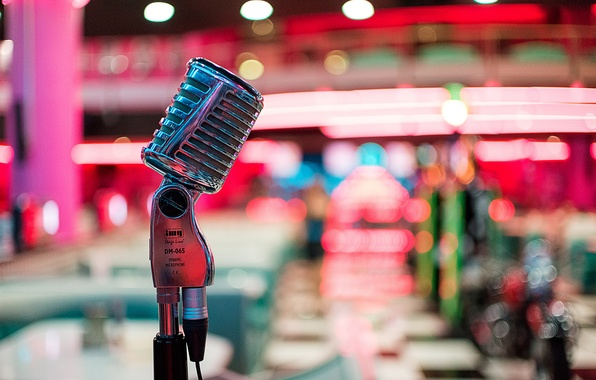 Picture macro, style, music, Microphone, bokeh