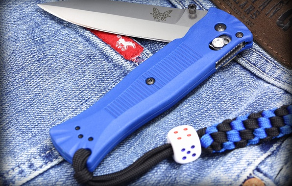 Picture blue, knife, cord, jeans, folding, lanyard, benchmade