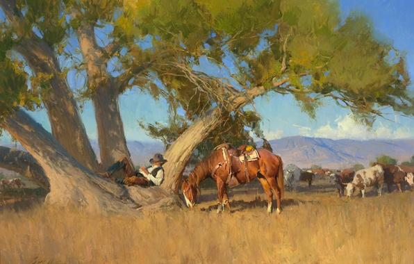 Picture the sky, landscape, mountains, tree, stay, horse, sleep, cows, cowboy, Anton Bill