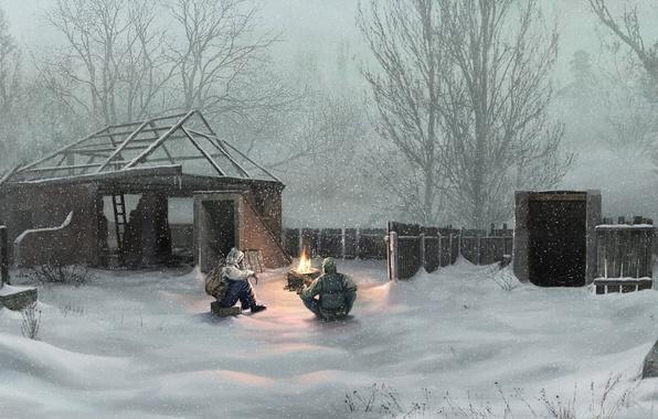 Picture winter, snow, village, Chernobyl, stalker, Ukraine
