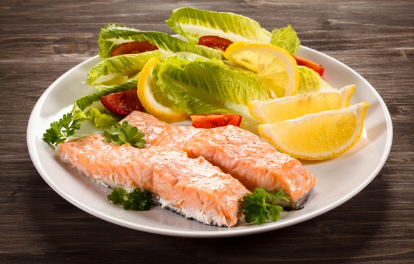 Picture leaves, lemon, fish, lemon, tomatoes, salad, fish, serving, tomato