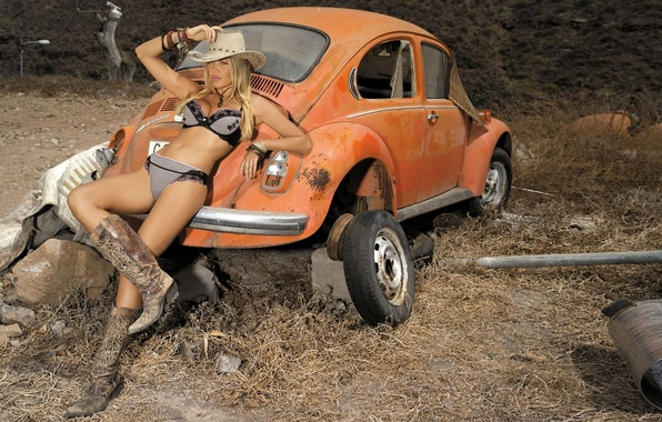 Picture chest, girl, orange, sexy, background, model, body, tummy, hat, boots, Volkswagen, figure, Beetle, legs, sexy, …
