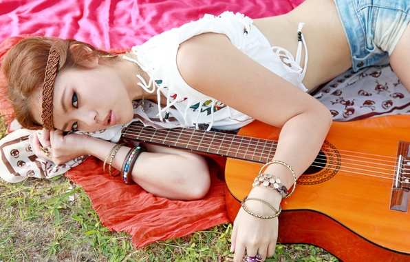 Picture look, girl, music, guitar