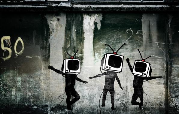 Picture wall, graffiti, TV