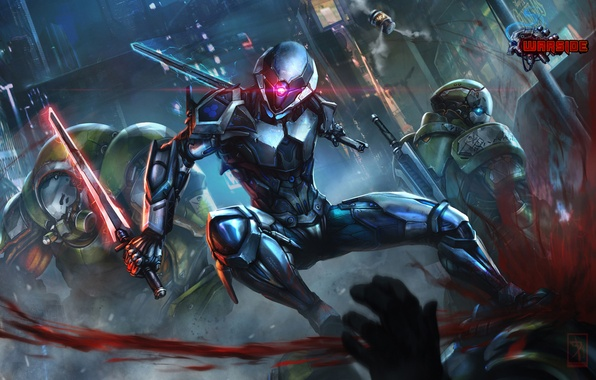 Picture blood, sword, battle, warrior, soldiers, helmet, cyborg, fight, art, warside