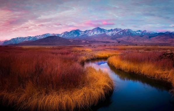 Picture grass, landscape, mountains, nature, river, dawn