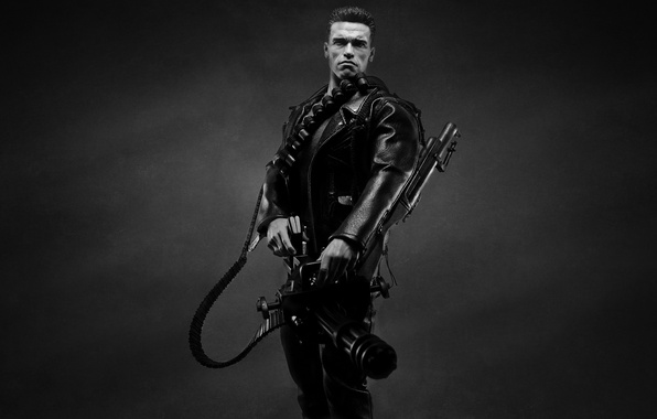 Picture the dark background, weapons, Arnold Schwarzenegger, Terminator, Arnold Schwarzenegger, The Terminator