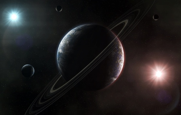 Picture light, planet, ring, stars, small planet
