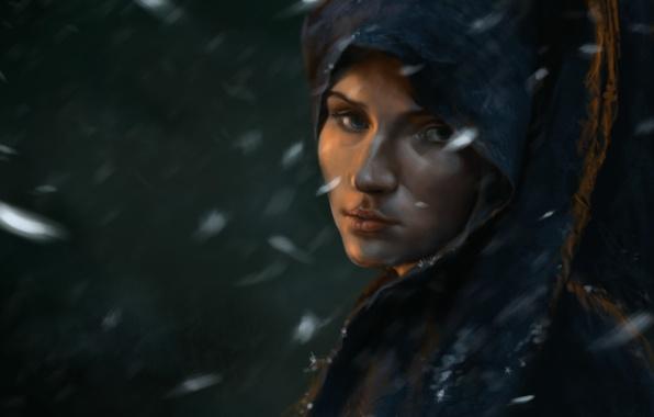 Picture girl, snow, art, cloak, Cape, Game of thrones, Sansa Stark, Alaina Stone, Alayne Stone