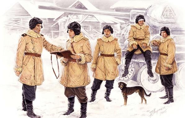 Picture figure, dog, art, tank, the crew, Soviet, average, T-34-85, tankers, Soviet, WWII, A. Karashchuk
