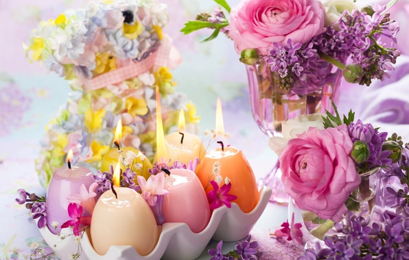 Picture flowers, candles, Easter, vase, lilac, Ranunculus