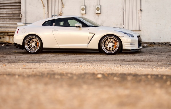 Picture white, nissan, profile, white, wheels, drives, Nissan, gtr, gtr, r35