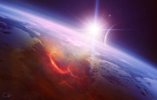 Picture star, planet, satellite, art, lava, the rift, QAuZ