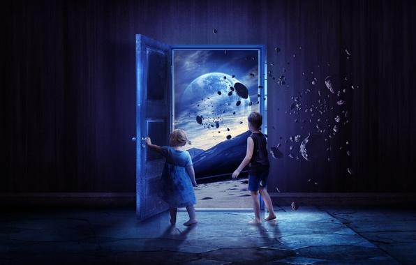 Picture space, the way, stones, planet, boy, the door, girl