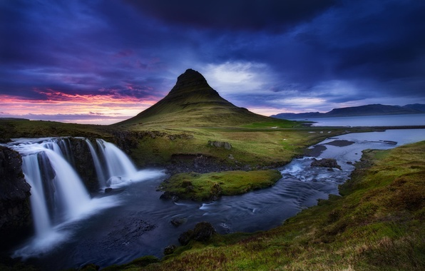 Picture clouds, landscape, nature, river, mountain, waterfall, stream, the volcano, Iceland, Kirkjufell