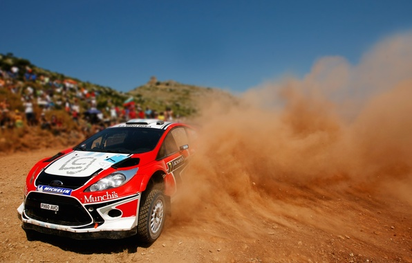 Picture Ford, Red, Dust, skid, Turn, WRC, Rally, Fiesta, Fiesta, The front