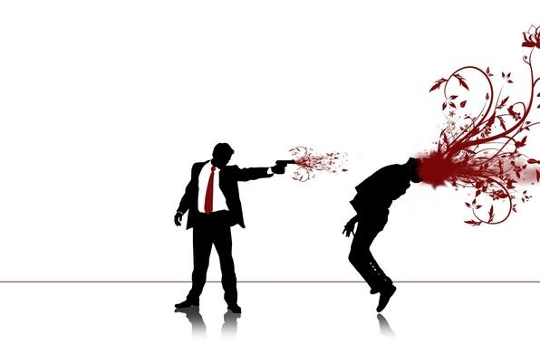 Picture gun, blood, shot