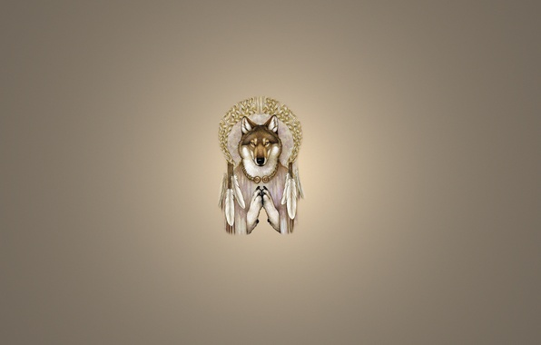 Picture wolf, minimalism, feathers, light background, wolf, Dreamcatcher, Dreamcatcher