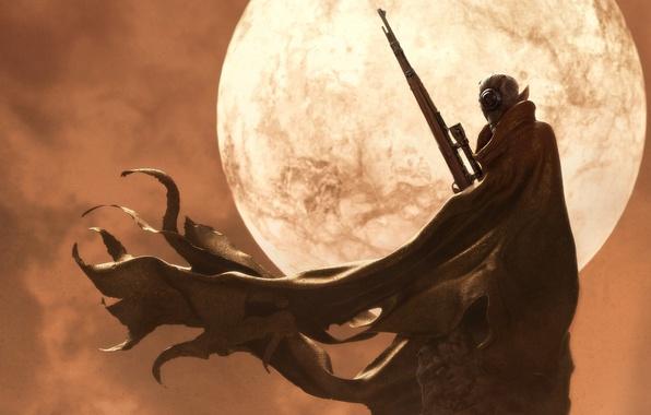 Picture rock, the moon, alien, cloak, rifle, Sniper
