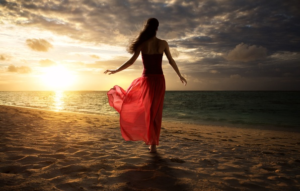 Picture sand, beach, the sky, water, the sun, clouds, pose, Girl, dress