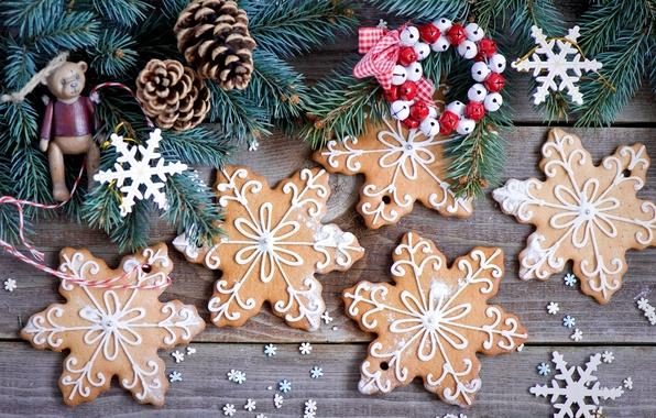Picture winter, snowflakes, branches, toys, food, spruce, cookies, tree, Christmas, bumps, dessert, cakes, holidays, sweet, New …