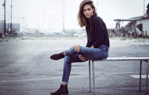 Picture look, girl, model, jeans, actress, beauty, jessica alba, latina