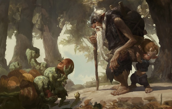 Picture forest, caterpillar, Apple, child, boy, art, the old man, goblins, backpack, traveler, the elder