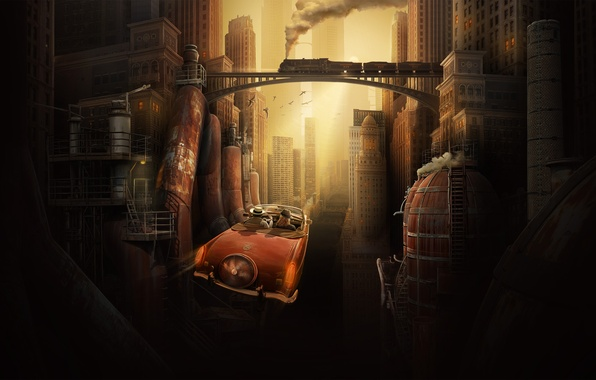 Photo Wallpaper Auto Bridge Metal Pipe The City Retro Future