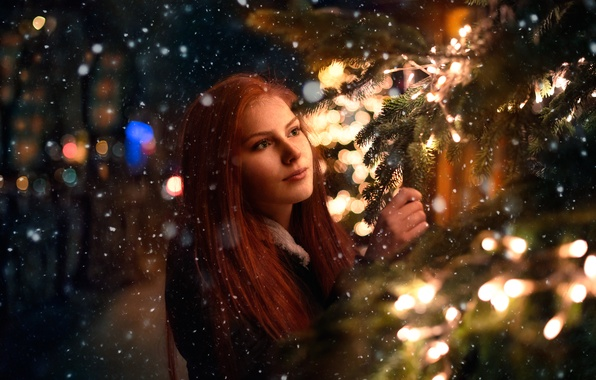 Picture girl, snow, lights, tree