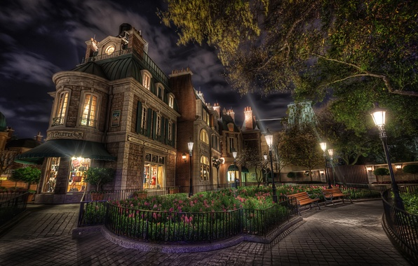 Picture the sky, clouds, trees, flowers, night, lights, house, lights, flowerbed, bench, shop