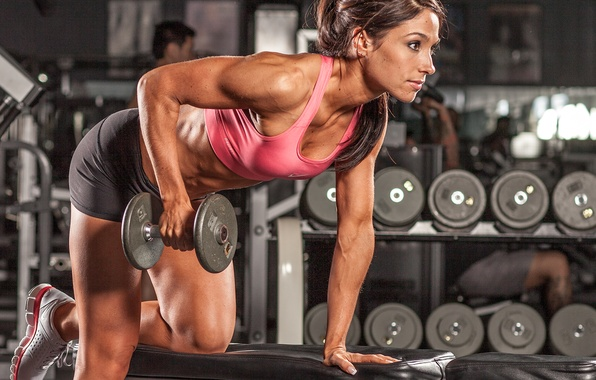 Picture woman, pose, workout, fitness, dumbbells, hard work