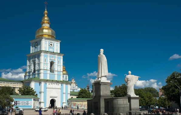 Picture summer, the sky, people, area, monument, Cathedral, Ukraine, Kiev, Mikhailovsky
