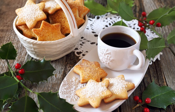 Picture leaves, branches, berries, holiday, Board, new year, coffee, Christmas, cookies, Cup, cakes, napkin