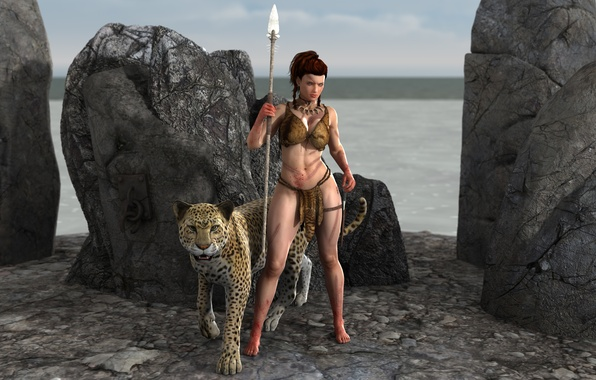 Picture chest, girl, stones, animal, body, warrior, leopard, spear