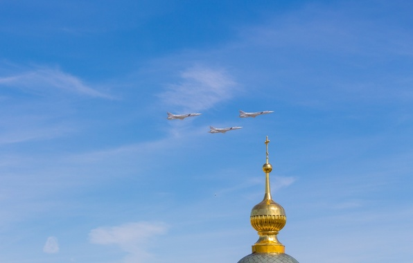 Picture The sky, cross, Church, Moscow, temple, flight, Tupolev, Victory, Parade, 2015, Three, The dome, Tu-22